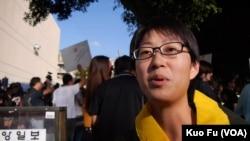 台灣留學生楊雅婷(美國之音國符拍攝)