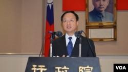 台湾行政院长江宜桦3月24日谈中华民国主权与服贸(美国之音申华拍摄)