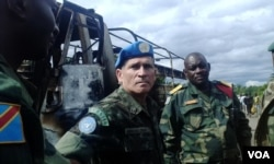 MONUSCO Force Commander General Carlos Alberto Dos Santos Cruz at the ambush site, Beni territory, eastern Congo, May, 2015. (Nicholas Long/VOA)