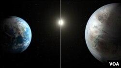 ຮູບພາບຈິນຕະນາການ ທີ່ປຽບທຽບໂລກມະນຸດ (ຊ້າຍ) ໃສ່ດາວພະເຄາະດວງໃໝ່ ທີ່ຮ້ອງວ່າ Kepler-452b,