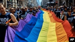 Revelers carry a LGBTQ flag along Fifth Avenue during the 2018 Gay Pride Parade in New York City, June 24, 2018.