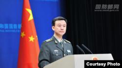 中國國防部發言人吳謙2018年1月25日主持例行記者會(中國國防部網站)