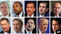 Republikanski predsednički kandidati Džeb Buš, Ben Karson, Kris Kristi, Ted Kruz, Majk Hakabi, Džon Kejsik, Rend Pol, Marko Rubio, Donald Tramp i Skot Voker.