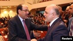 عراق کے سابق وزیرِاعظم نوری المالکی اور موجودہ وزیرِاعظم حیدر العبادی