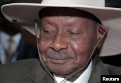 FILE - Uganda's President Yoweri Museveni arrives at an African Union event in Addis Ababa, Ethiopia, February 9, 2020.