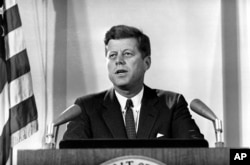 U.S. President John F. Kennedy reports to the nation on the status of the Cuban crisis from Washington, D.C., Nov. 2, 1962.