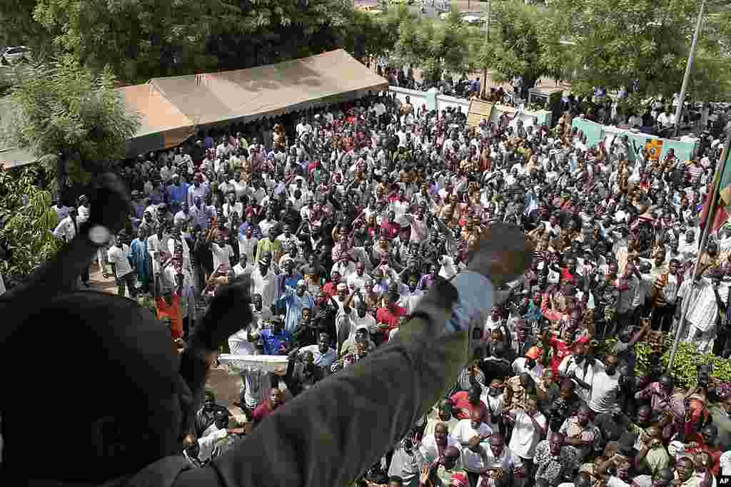 People chant in protest against the recent military coup, in Bamako. (AP)