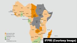 La carte Afrique de l'Indice de la faim dans le monde 2015 (GHI), selon IFPRI.