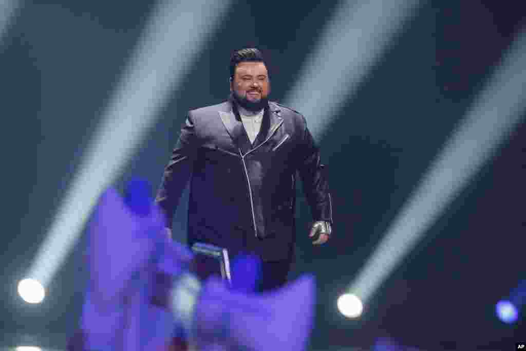 Jacques Houdek from Croatia is introduced during the Final for the Eurovision Song Contest, in Kyiv, Ukraine, May 13, 2017.