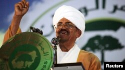 FILE - Sudanese President Omar Hassan al-Bashir addresses the general conference of the ruling National Congress Party in Khartoum, Oct. 23, 2014.