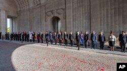 1차 세계대전 발발 100주년을 맞아 유럽연합 정상들이 격전지였던 벨기에 이프레스를 방문했습니다.