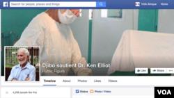 """La page Facebook """"soutient Dr. Ken Elliot"""" créée par la ville burkinabè de Djibo, au Burkina, où le médecin vit depuis plus de quatre décennies"""