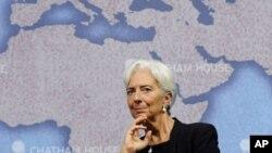 國際貨幣基金組織總裁拉加德星期五在倫敦出席一次辯論會