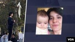 ویدا موحد و فرزند خردسالش.