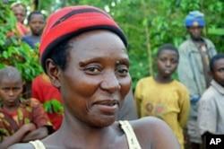 Marie Claudine Yansoneye is a Rwandan farmer who is not keen on mixing bananas and coffee, October 2011.