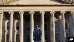 FILE - The U.S. Treasury Department building is seen in Washington, June 8, 2017.