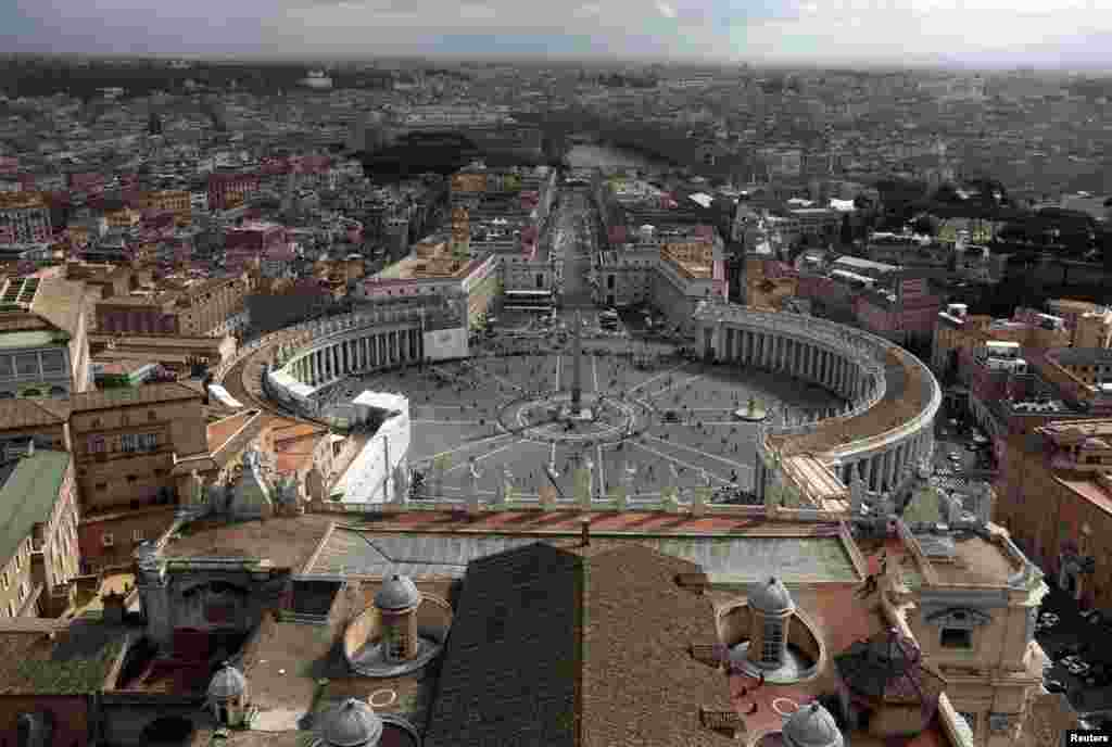 Saint Peter's Square is seen from the dome of Saint Peter's Basilica at the Vatican, March 11, 2013.