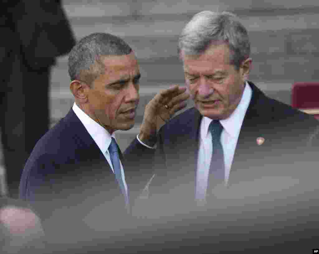 President Barack Obama and U.S. Ambassador to China, Max Baucus, leave the Great Hall of the People, Beijing, China, Nov. 12, 2014.
