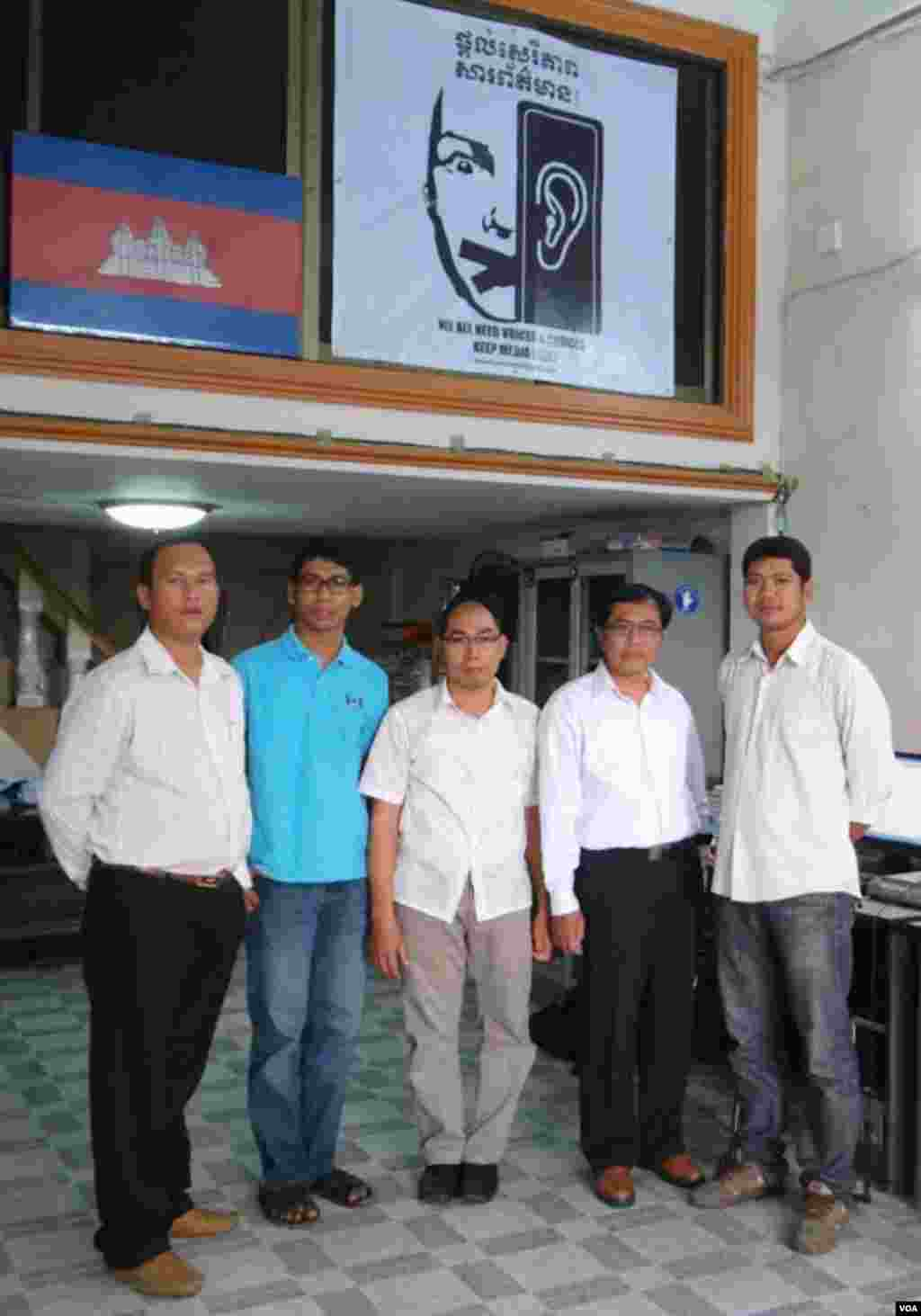 (left to right) Reaksmey Heng, Theara Khoun, Sothanarith Kong (editor), Sothy Lim (office manager), and Mony Say (TV Unit Coordinator) in VOA Phnom Penh office.