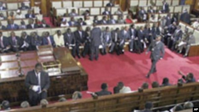 A general view shows members of parliament on March 06, 2008 at the parliament in Nairobi.