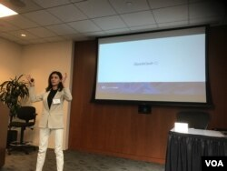 Eight companies from the country of Georgia took part at a startup boot camp in Silicon Valley recently. QuickCash CEO Mariam Rusishvili represented her company. (M. Quinn/VOA)