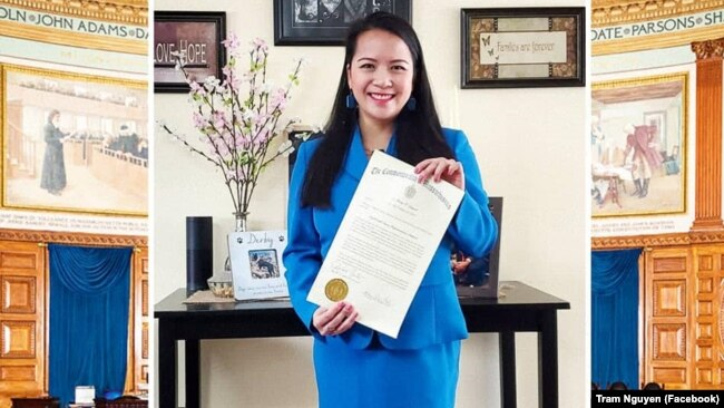 Dân biểu Trâm Nguyễn nhậm chức nhiệm kỳ thứ hai vào tháng 1/2021.
