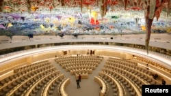 FILE - The renovated Room XX is pictured after the unveiling ceremony at the European headquarters of the United Nations in Geneva, Nov. 18, 2008.