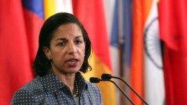 Ambasadris Susan Rice, chèf misyon diplomatik  Lèzetazini an nan Nasyon Zini. (Foto achiv)