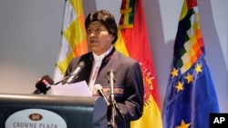 Bolivian President Evo Morales speaks to the media after a hearing at the International Court of Justice, in The Hague, Netherlands, March 20, 2018.