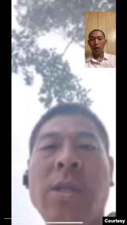 2020年8月12日,老家趙寨子鎮政法委書記肖玉廣通過微信聯繫到界立建,誘惑他回國,後改為謾罵。(視頻截圖,界立建提供)