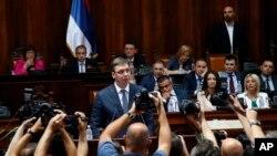 Predsednik Srbije Aleksandar Vučić u jednom od prošlih obraćanja parlementu, Foto: AP Photo/Darko Vojinovic