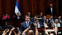 Premijer Srbije Aleksandar Vučić obraća se parlamentu u Beogradu, 9. avgusta 2016.