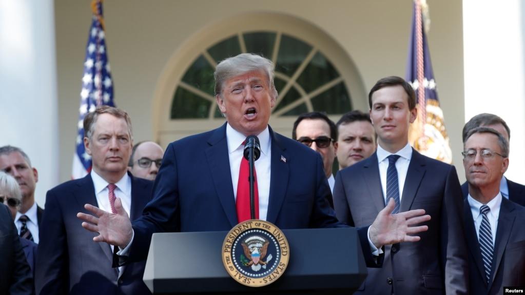 Tổng thống Hoa Kỳ Donald Trump phát biểu về Thỏa thuận Thương mại Mỹ-Mexico-Canada (USMCA) trong cuộc họp báo tại Tòa Bạch Ốc hôm 1/10/2018.