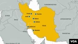 شمایی از سایتهای فعالیتهای هسته ای ایران