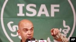 German Brig. Gen. Gunter Katz, NATO spokesman, speaks at a press conference in Kabul, Afghanistan, July 9, 2012.
