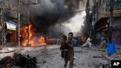 Ledakan bom di Peshawar, Pakistan, 29 September 2013. (Foto: dok). Jumlah serangan teror di Pakistan menurun drastis lebih dari 85 persen dalam satu dekade terakhir.