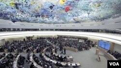 Dewan HAM PBB melakukan sidang di Jenewa, Swiss untuk membahas situasi kemanusiaan di Suriah (28/2).