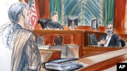 In this courtroom sketch, Osama bin Laden's son-in-law Suleiman Abu Ghaith, right, testifies at his trial, March 19, 2014, in New York, on charges he conspired to kill Americans and aid al-Qaida as a spokesman for the terrorist group.