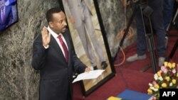 Abiy Ahmed prête serment en tant que Premier ministre à Addis Ababa, en Ethiopie, le 2 avril 2018.