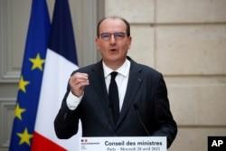 장 카스텍스 프랑스 총리가 엘리제궁에서 주간 각료회의 직후 기자회견을 하고있다. (자료사진)