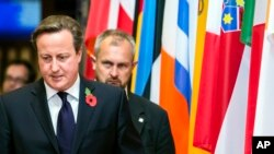 FILE - British Prime Minister David Cameron (L) walks past EU member state flags as he departs from an EU summit in Brussels Oct. 24, 2014.