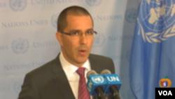 Jorge Arreaza, canciller de Venezuela en conferencia de prensa en las Naciones Unidas. Sept. 19, 2017.