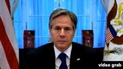 美國國務卿布林肯通過視頻參加聯合國安理會會議。