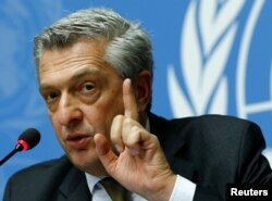 FILE - U.N. High Commissioner for Refugees Filippo Grandi attends a news conference on Myanmar at the United Nations in Geneva, Switzerland, Sept. 27, 2017.