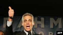 Mayor-elect Emanuel gestures after speaking to supporters during an election night party in Chicago, February 22, 2011