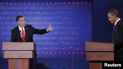 Ilustração do primeiro debate entre o presidente cessante Barack Obama e o candidato republicano, Mitt Romney na noite de Quarta-feira, 03 de Outubro de 2012