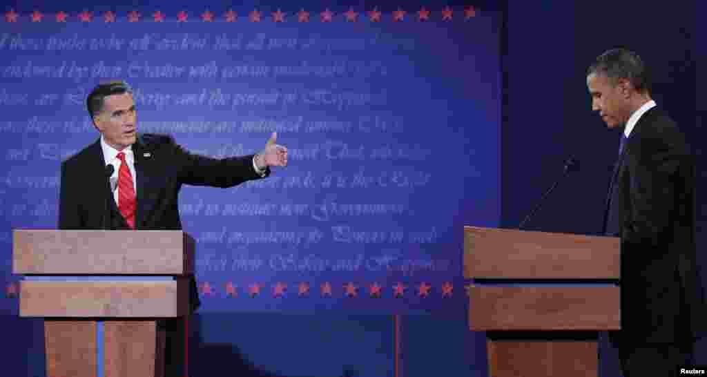 مٹ رومنی اور اوباما میں گرما گرم بحث