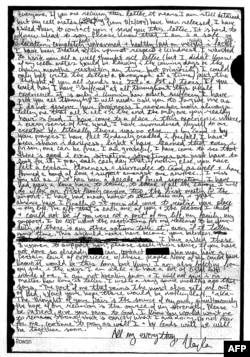 This handout image obtained Feb. 10, 2015, courtesy of the Mueller family shows a copy of an unpublished letter (with transcription) 26-year-old Kayla Mueller wrote to her loved ones in the Spring of 2014, while in captivity.
