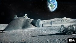 This illustration created by the European Space Agency (ESA) shows how a future moon base could be set up, with structures built with 3D printer technology. Industrial partners including architectural company Foster+Partners joined ESA to test the possibi
