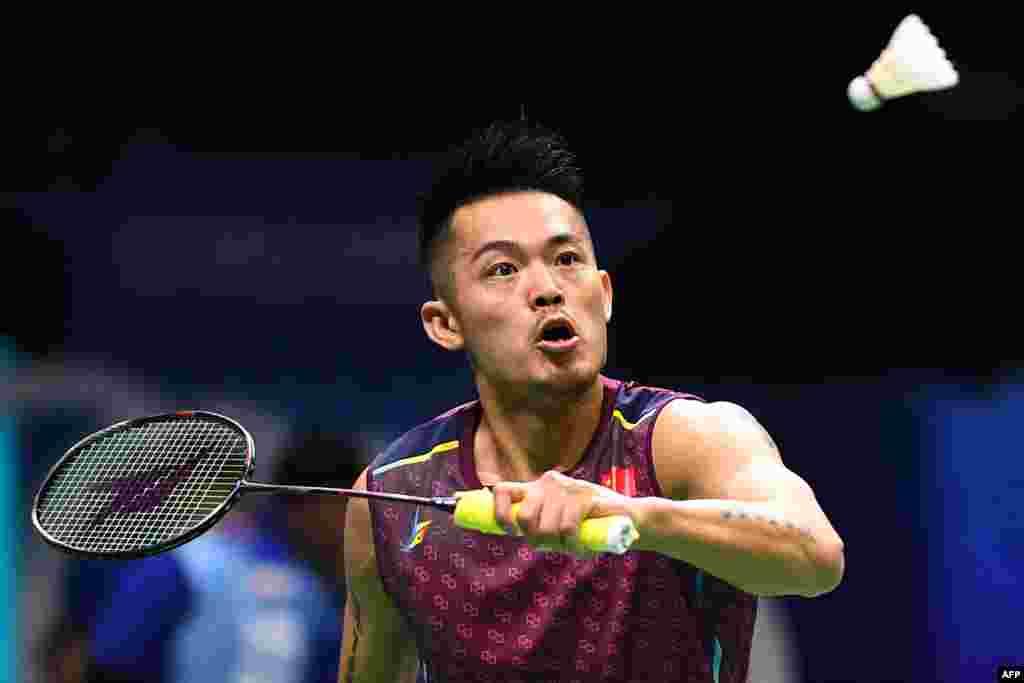 2018年8月2日,在江苏省南京举行的羽毛球世界锦标赛中,中国选手林丹在男子单打比赛中。